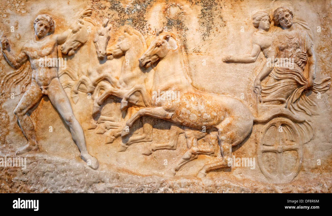 Marble votive relief of Hermes, who leads the charriot with the Nymph Basile and Echelos (410 B.C.) in National Stock Photo