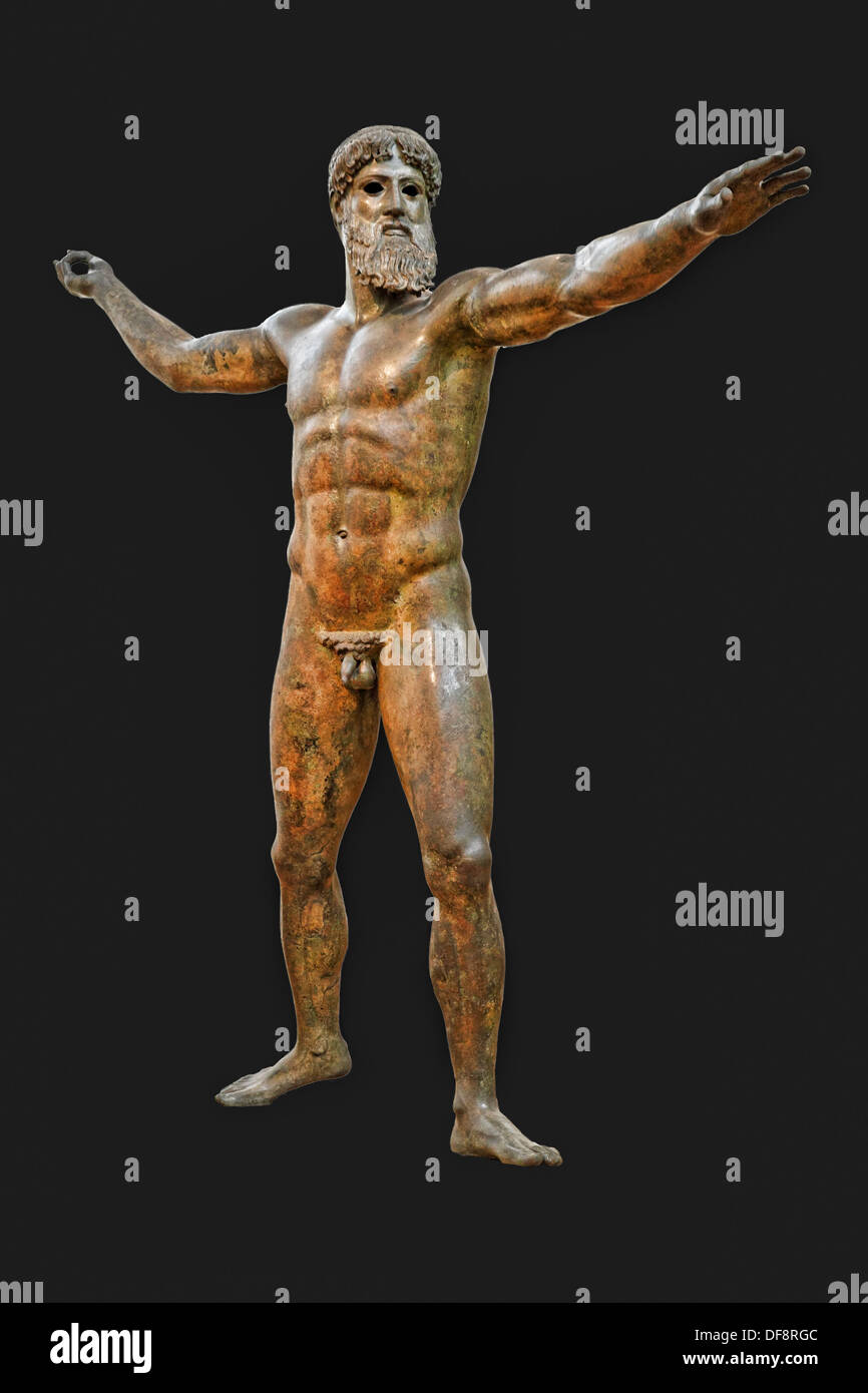 Bronze statue of Zeus or Poseidon (460 B.C.) in National Museum, Greece - Stock Image