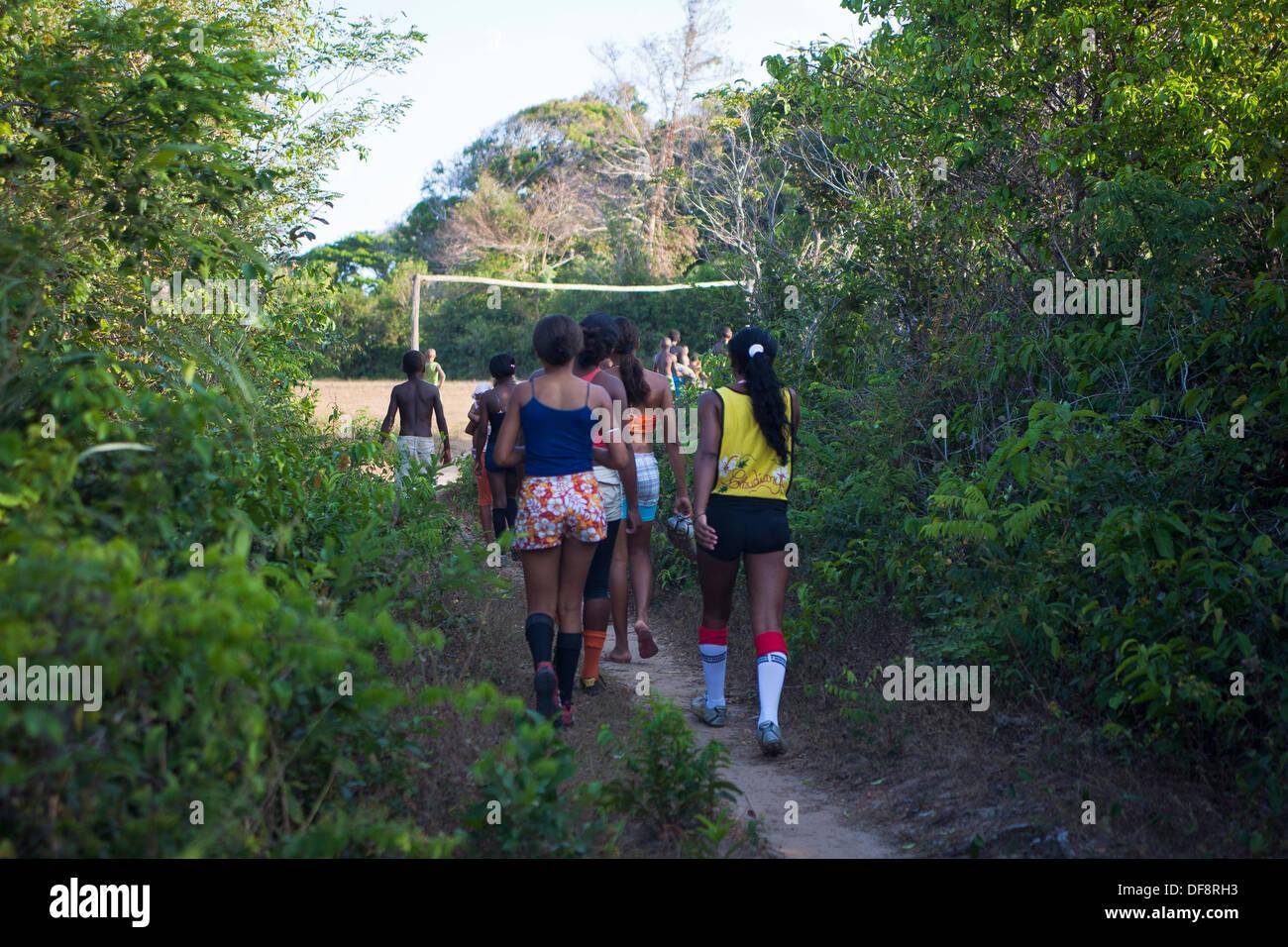 Women play soccer at Rio Grande Quilombo in Alcântara, Maranhão, Northeast Brazil. - Stock Image