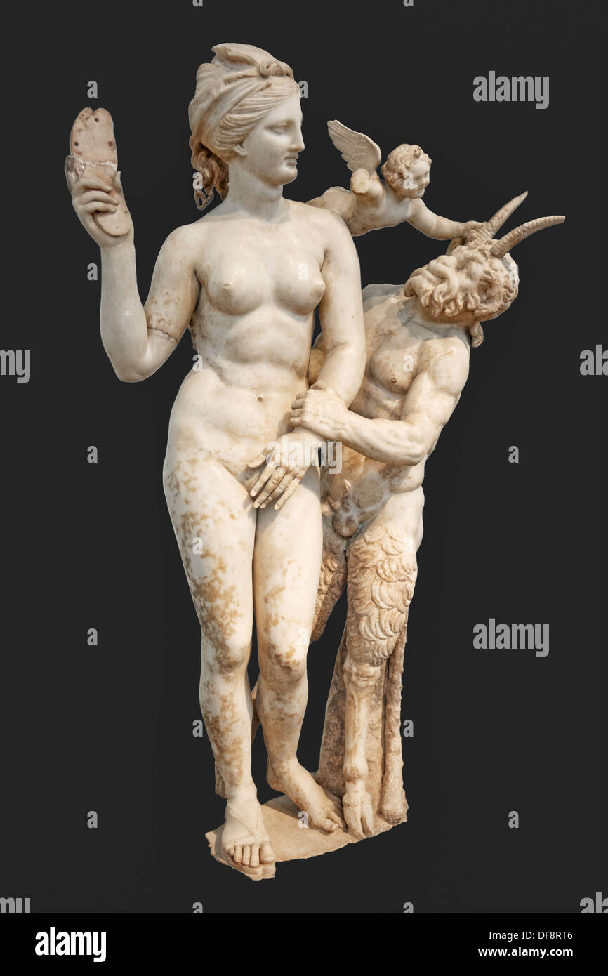 Marble group of Aphrodite, Pan and Eros (100 B.C.) in National Museum, Greece - Stock Image