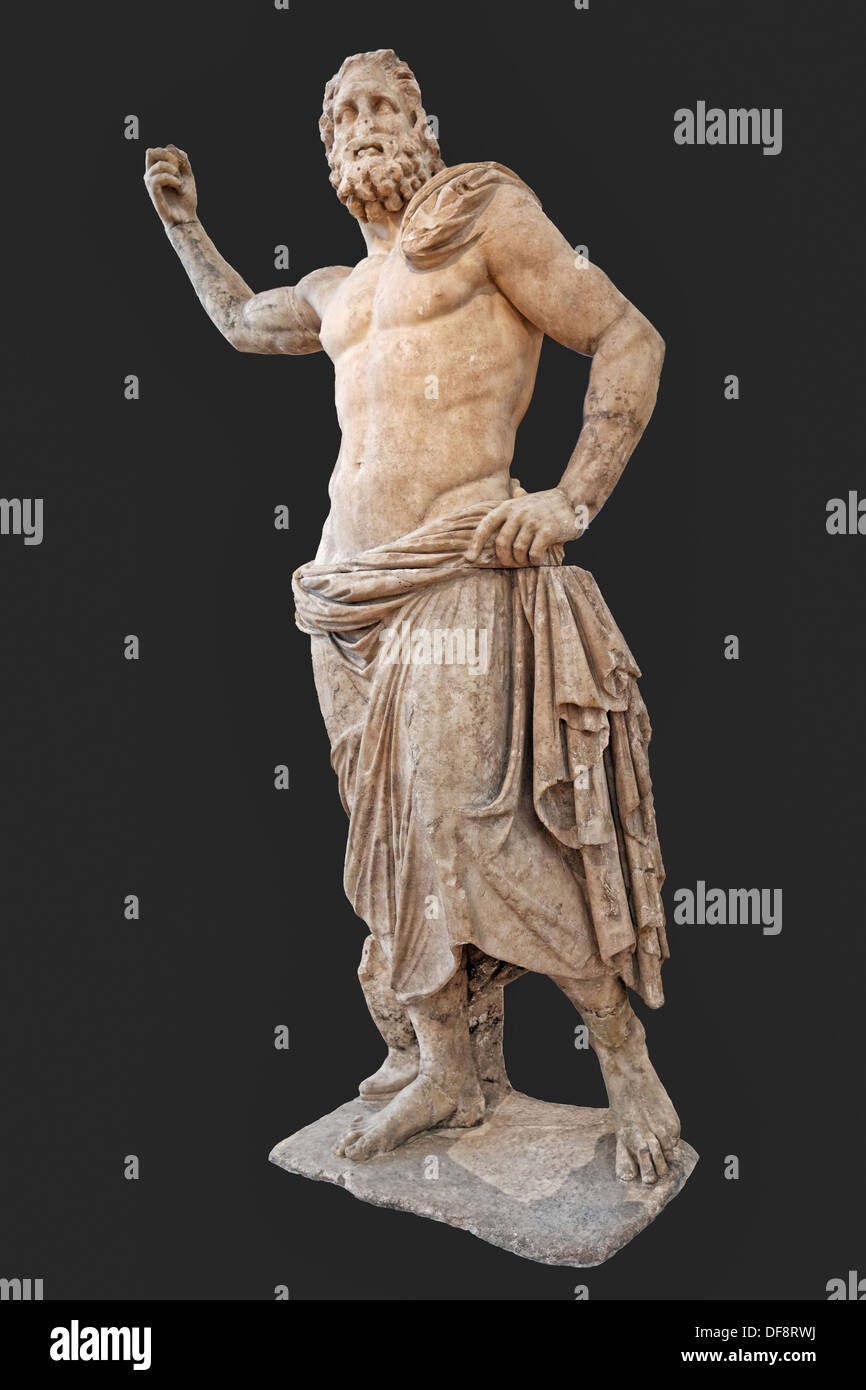 Marble statue of Poseidon (125-100 B.C.) in National Museum, Greece - Stock Image