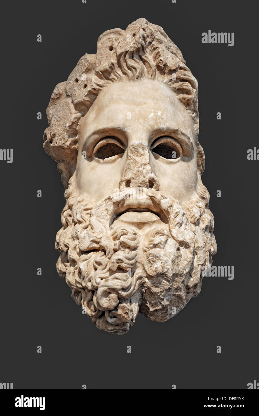 Marble colossal head of Zeus (150 B.C.) in National Museum, Greece - Stock Image