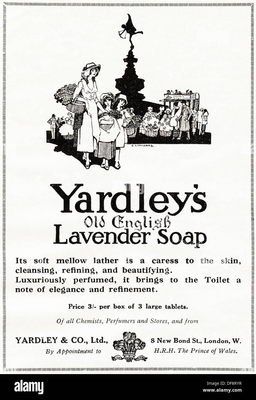 Original 1920s advertisement advertising YARDLEY'S OLD ENGLISH LAVENDER SOAP, consumer magazine advert circa 1924 Stock Photo