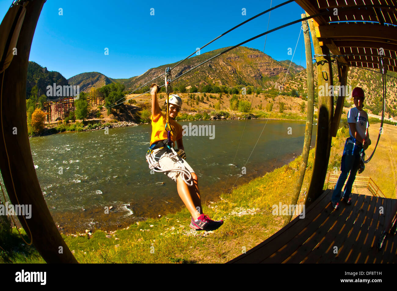 Ziplining over the Colorado River, Glenwood Canyon zipline adventures, Glenwood Springs, Colorado USA - Stock Image