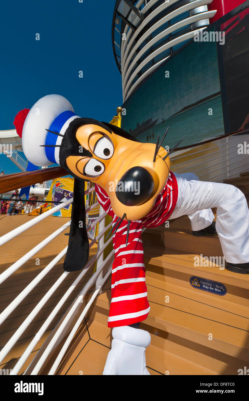 Goofy aboard the Disney Dream cruise ship sailing between Florida and the Bahamas - Stock Image