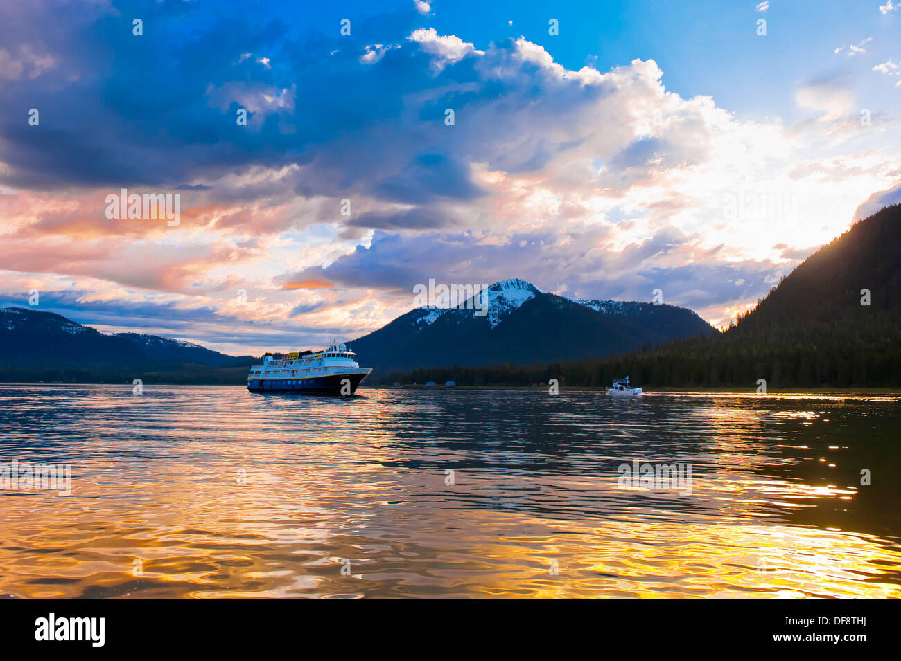 National Geographic Sea Bird Lindblad Expeditions small cruise ship, Wrangell Narrows on the Inside Passage, Petersburg, - Stock Image