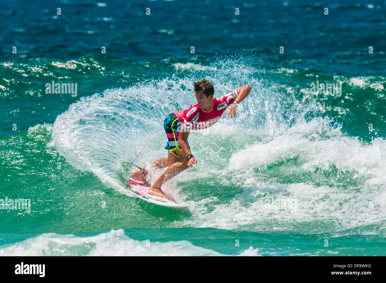 American pro surfer Evan Geiselman competing in the Australian Open of Surfing, Manly Beach, Sydney, New South Wales, Australia - Stock Image