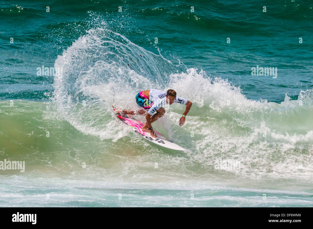 American pro surfer Evan Geiselman competing in the men´s pro finals of the Australian Open of Surfing, Manly Beach, Sydney, - Stock Image