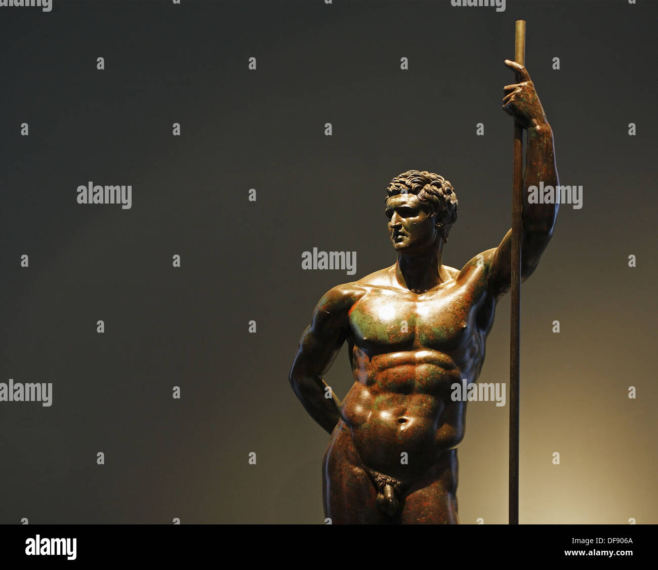 The bronze statue of a Hellenistic prince, Palazzo Massimo alle Terme, National Museum of Rome, Italy - Stock Image