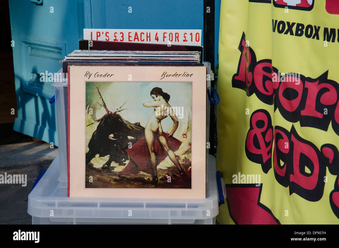 LP's for sale outside a secondhand record shop in St Stephen's Street in Edinburgh. - Stock Image