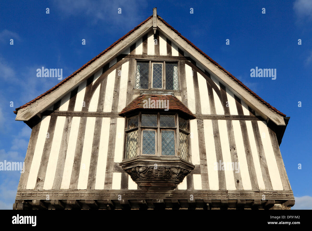 Eye, Suffolk, medieval Guildhall, detail, England UK timbered building buildings - Stock Image
