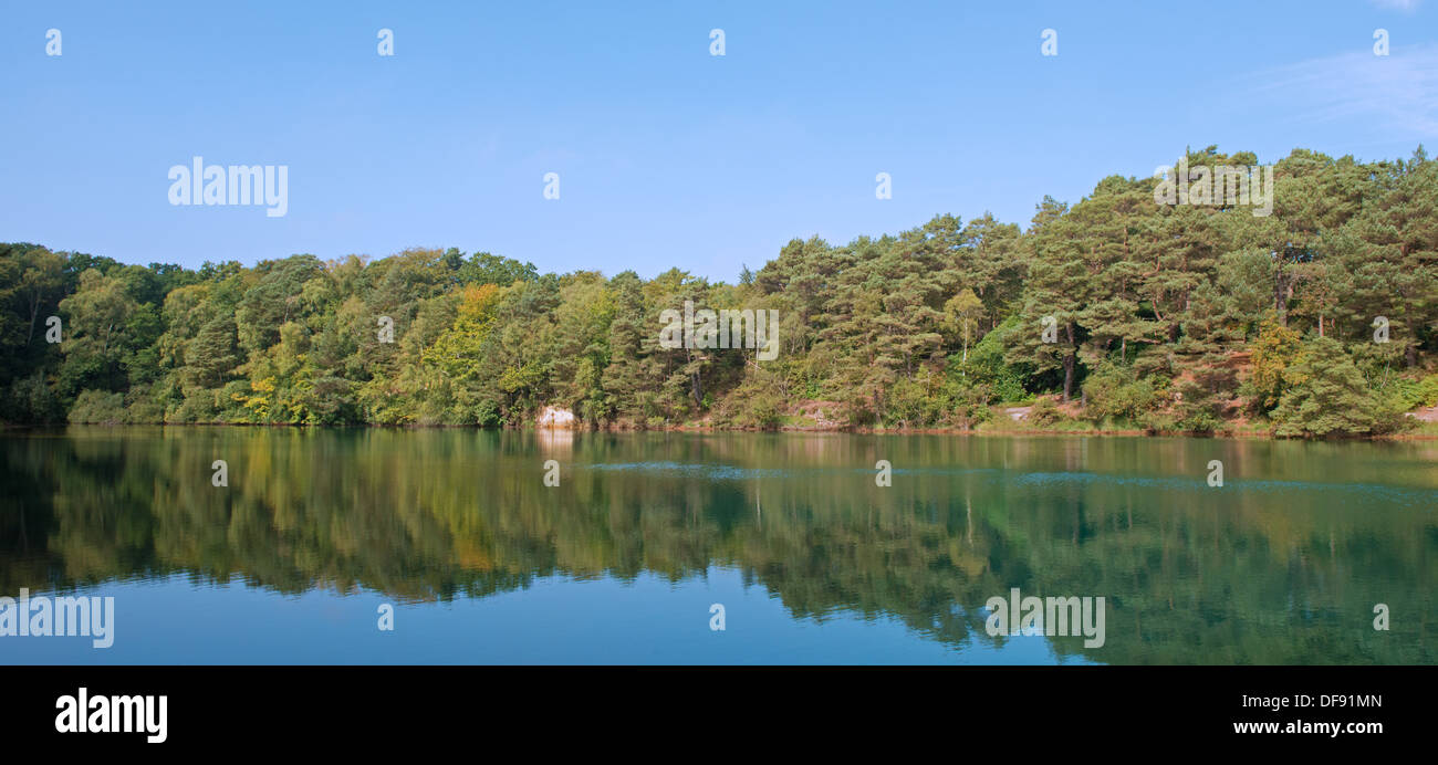 A panoramic view of the Blue Pool, (Site of Special Scientific Interest) at Furzebrook, near Wareham, Dorset, England, Uk - Stock Image