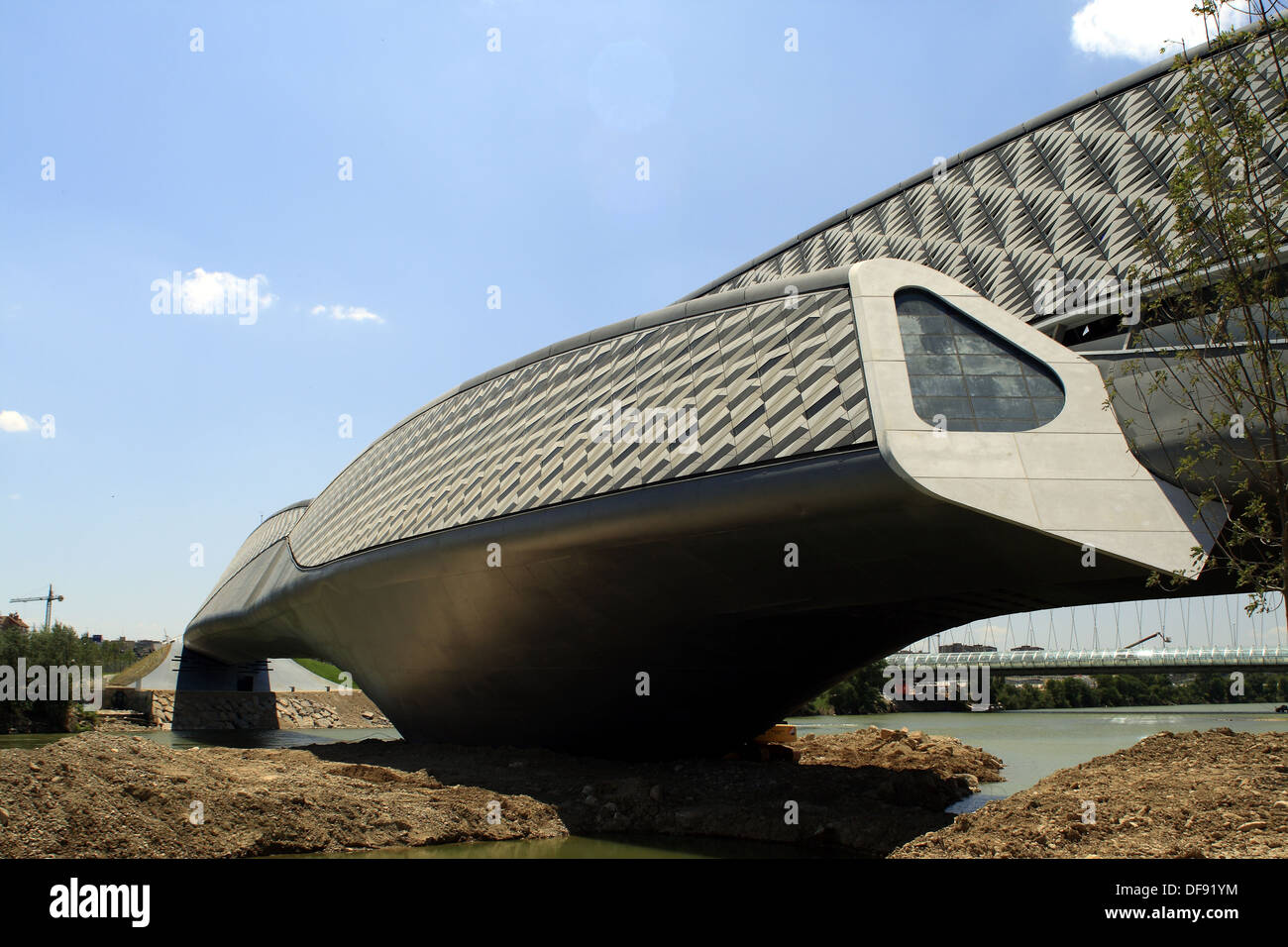 Bridge Pavilion designed by architect Zaha Hadid, Expo Zaragoza 2008. Zaragoza, Aragon, Spain Stock Photo