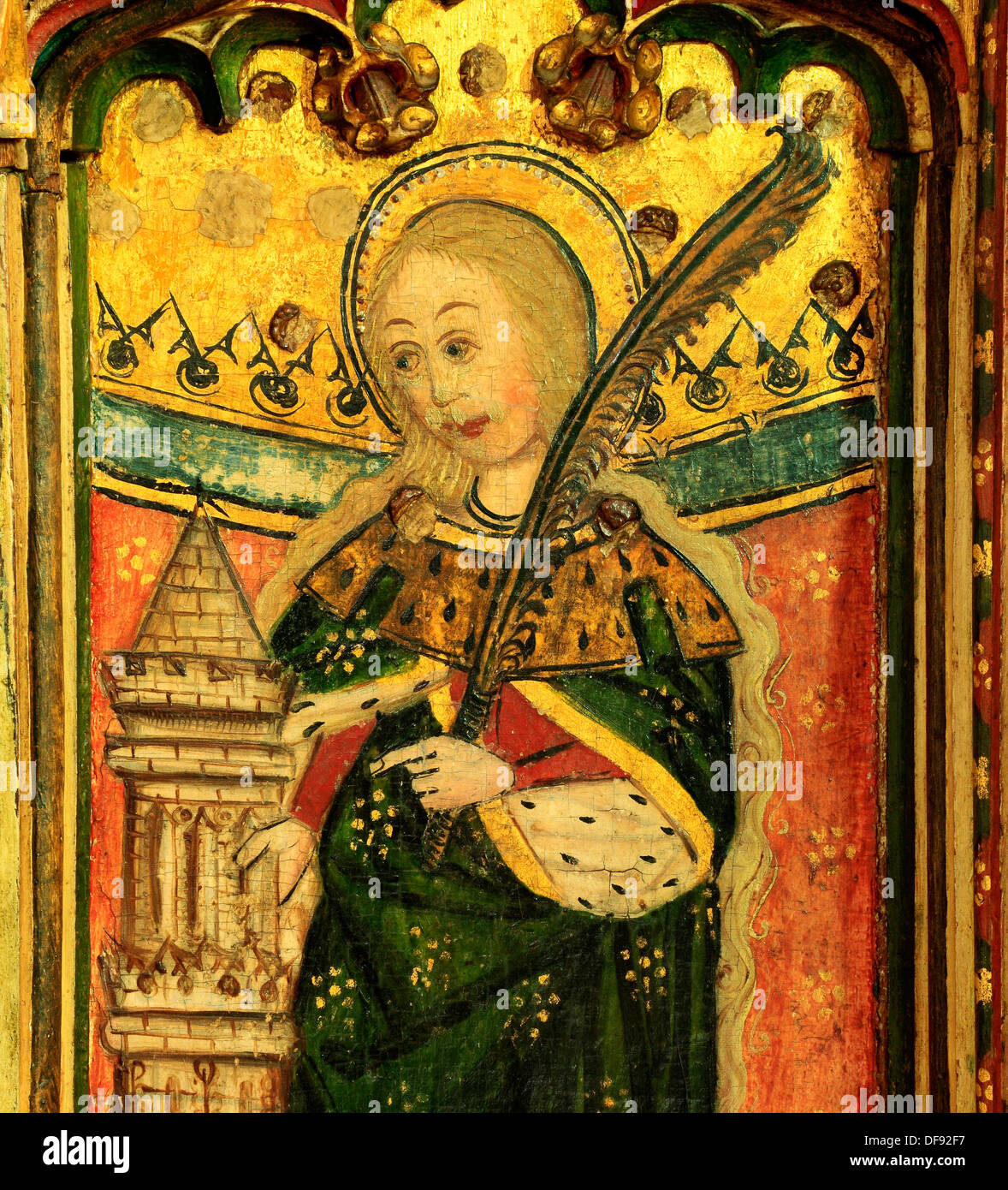 Eye, Suffolk, medieval Rood Screen painting 1480, St. Barbara with tower  and palm branch, paintings art christian saint saints