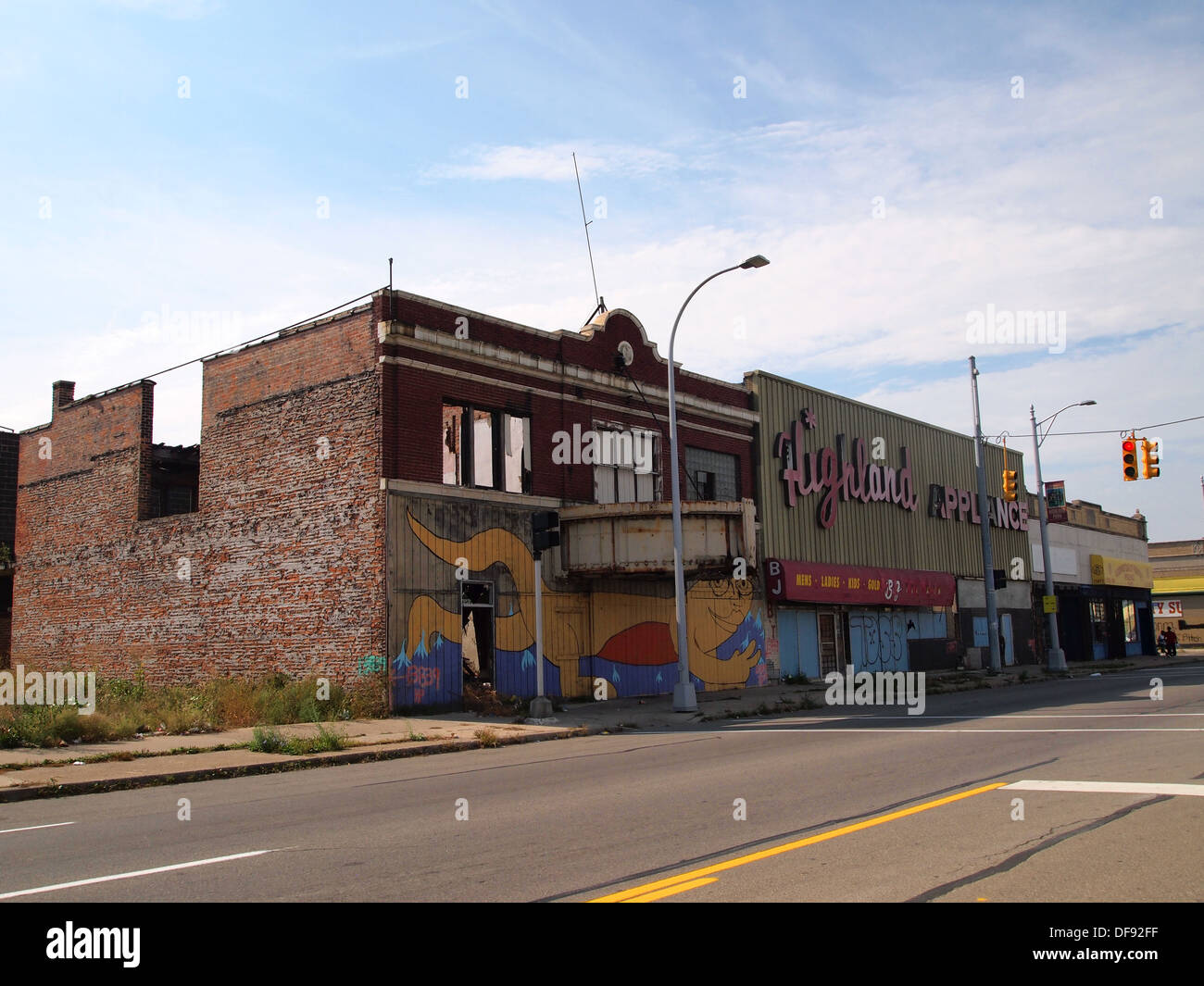 Derelict And Boarded Up Buildings Along Woodward Avenue Highland Park Detroit Michigan USA