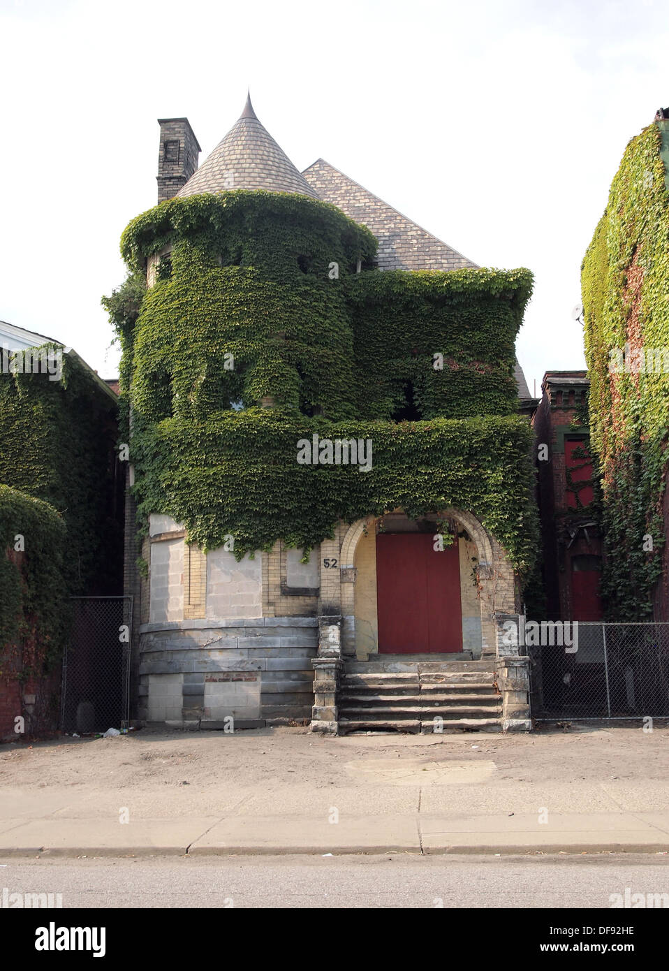 Derelict Buildings Covered In Ivy Detroit Michigan USA