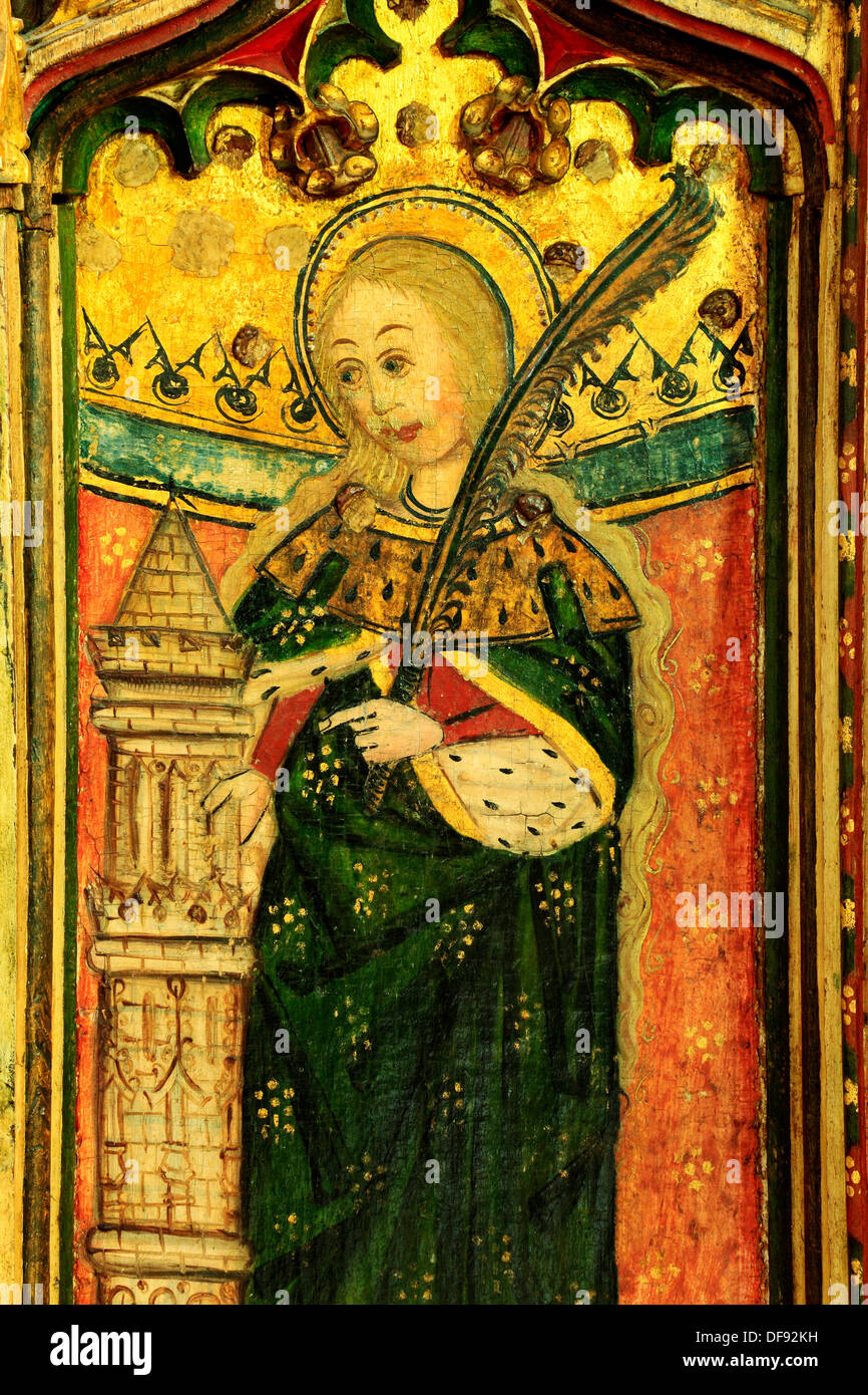 Eye, Suffolk, Rood Screen painting 1480, St. Barbara with tower and palm branch, paintings art christian saint saints female - Stock Image