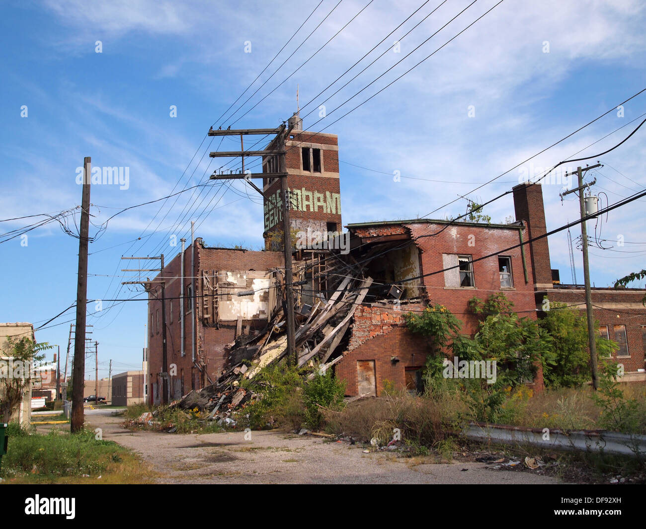 Derelict And Collapsed Building In Highland Park Detroit Michigan USA