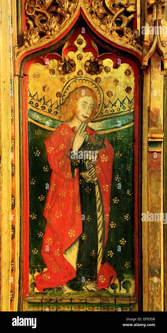 Eye, Suffolk, St. John the Evangelist,  late 15th century medieval rood screen painting paintings art christian saint saints - Stock Image