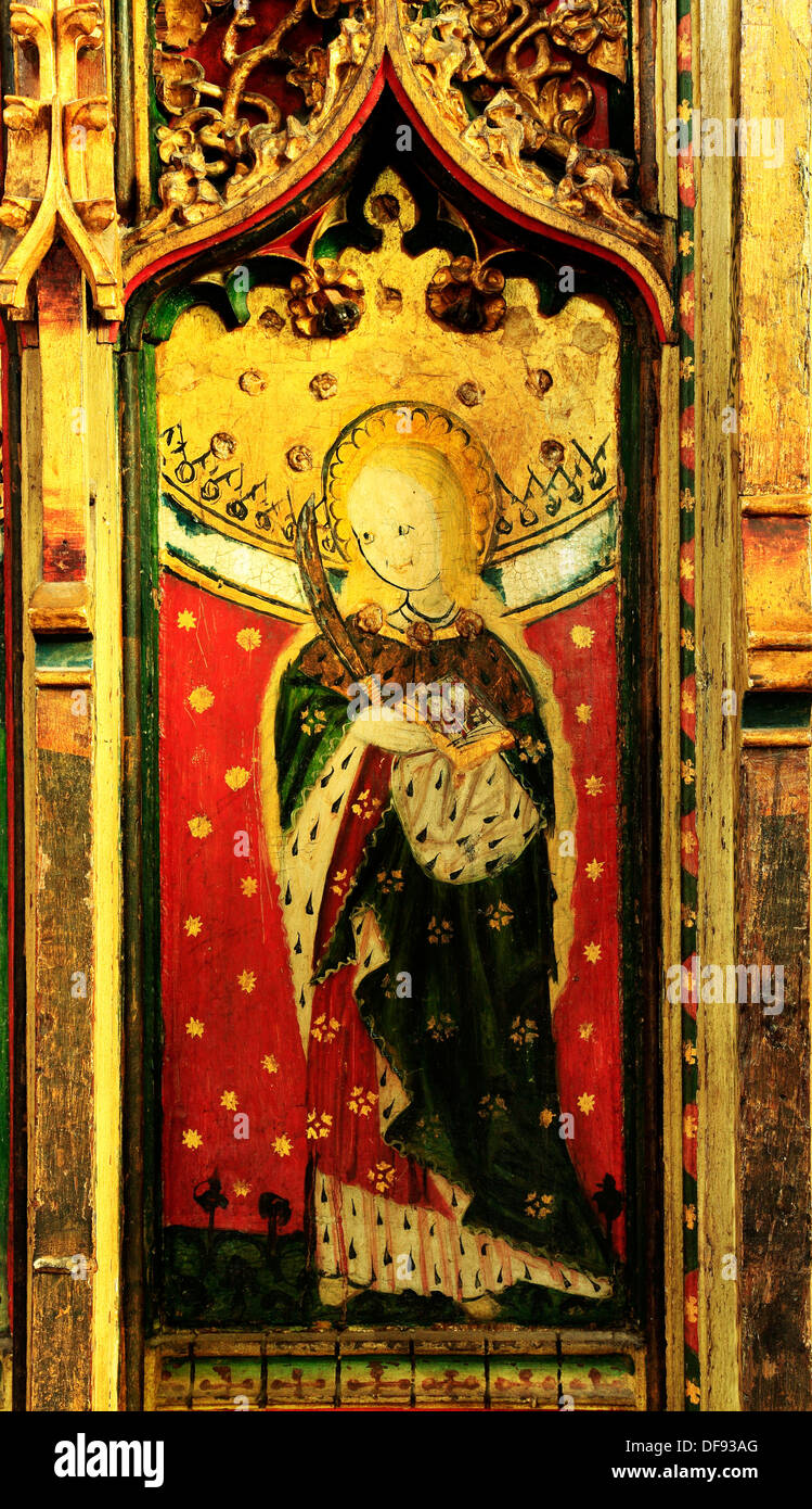 Eye, Suffolk, St. Lucy, late 15th century medieval rood screen painting paintings art christian saint saints female - Stock Image