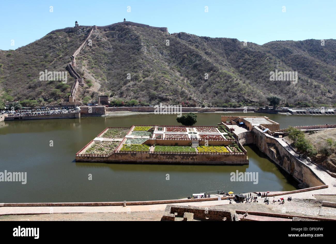 Kesar Kyari Bagh gardens, Fort Amber near Jaipur, Rajasthan, India,Asia. - Stock Image