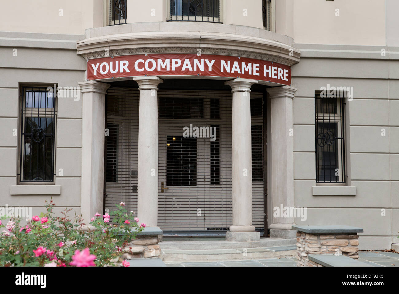 Commercial building for sale sign Stock Photo