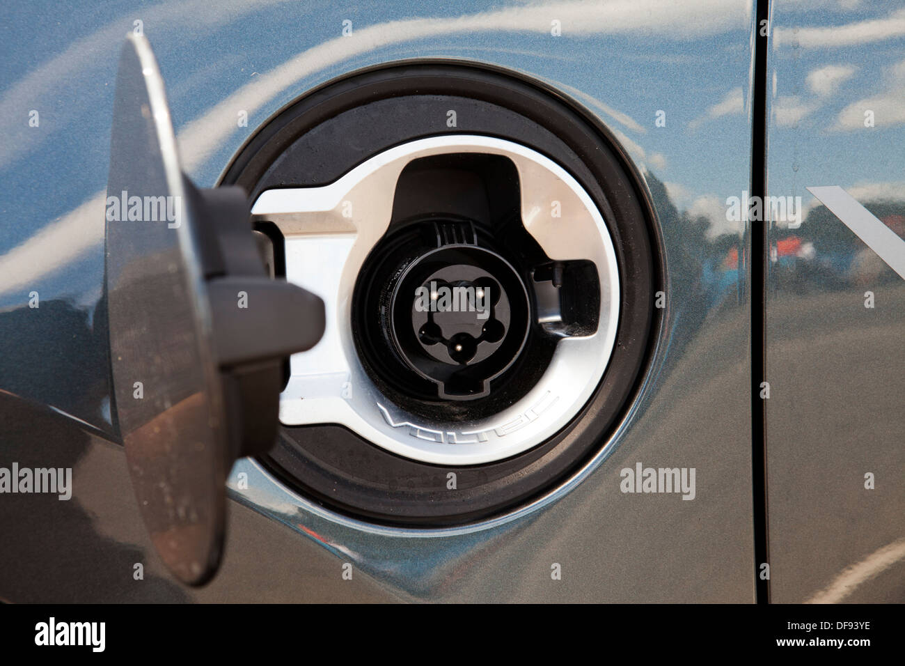 Chevy Volt electric hybrid car charge plug receptacle - Stock Image