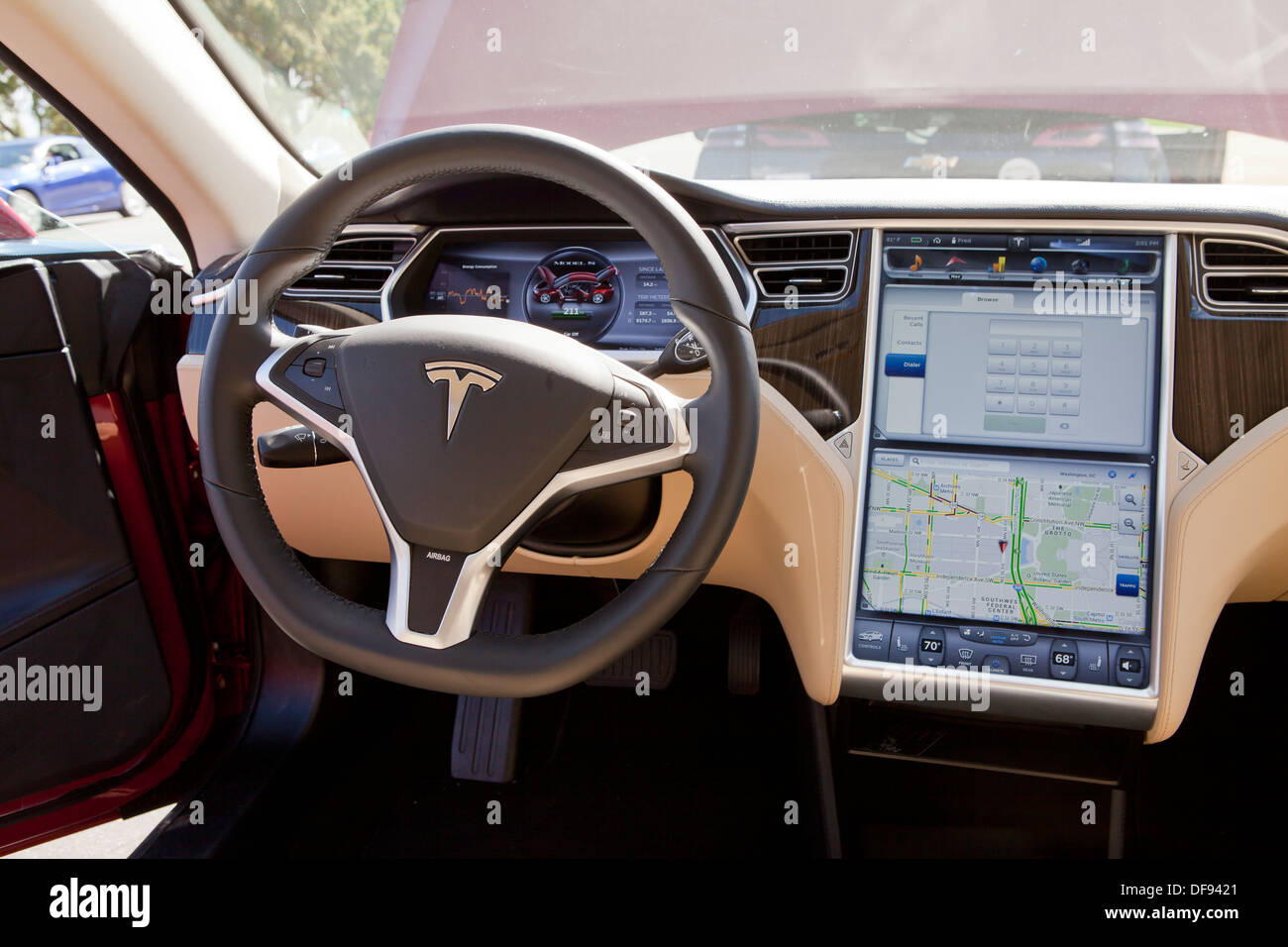 tesla model s electric car interior stock photo 61051705 alamy. Black Bedroom Furniture Sets. Home Design Ideas