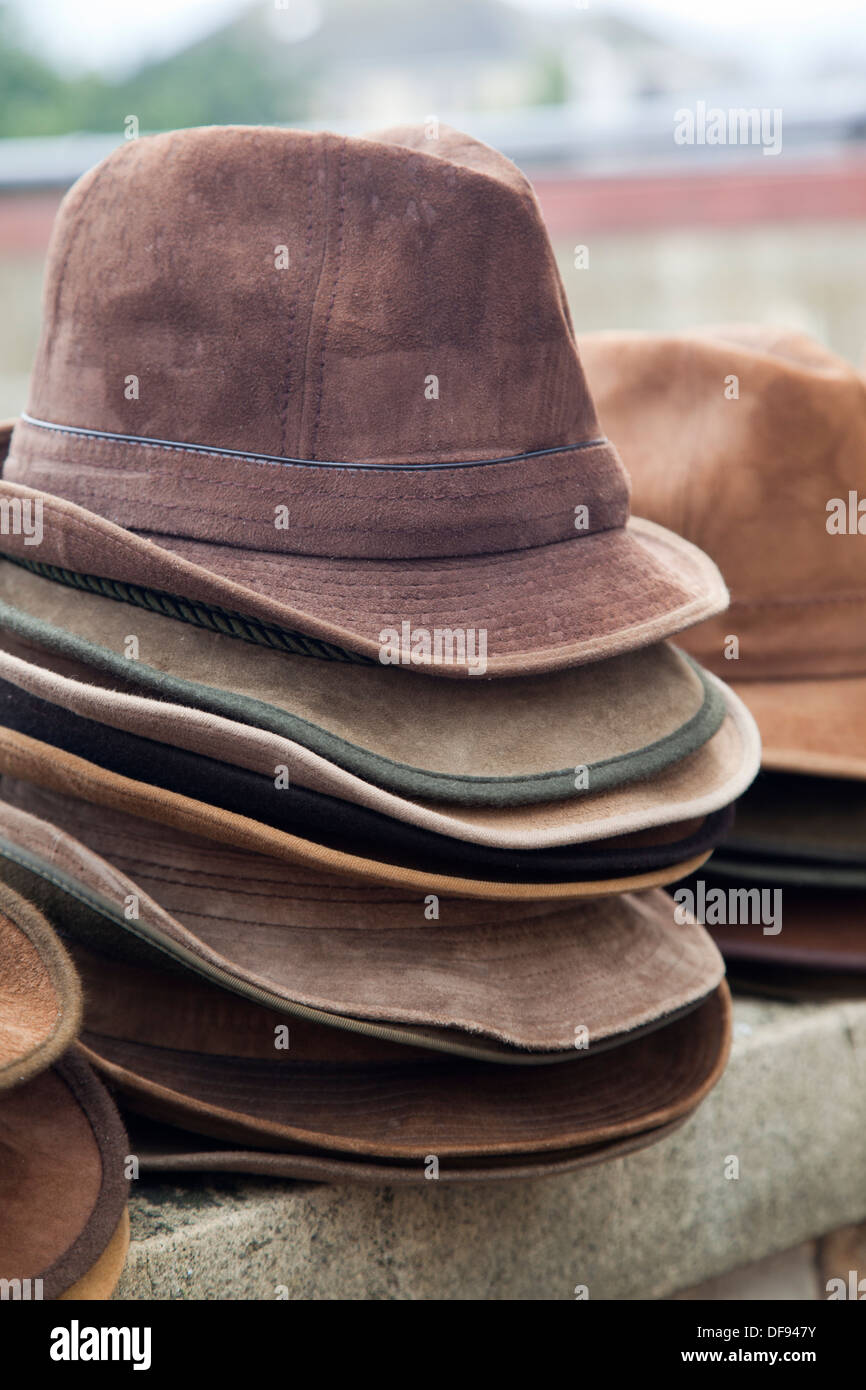 c14625479cfadc Trilby hats stacked and for sale Walcot Market, Bath - Stock Image