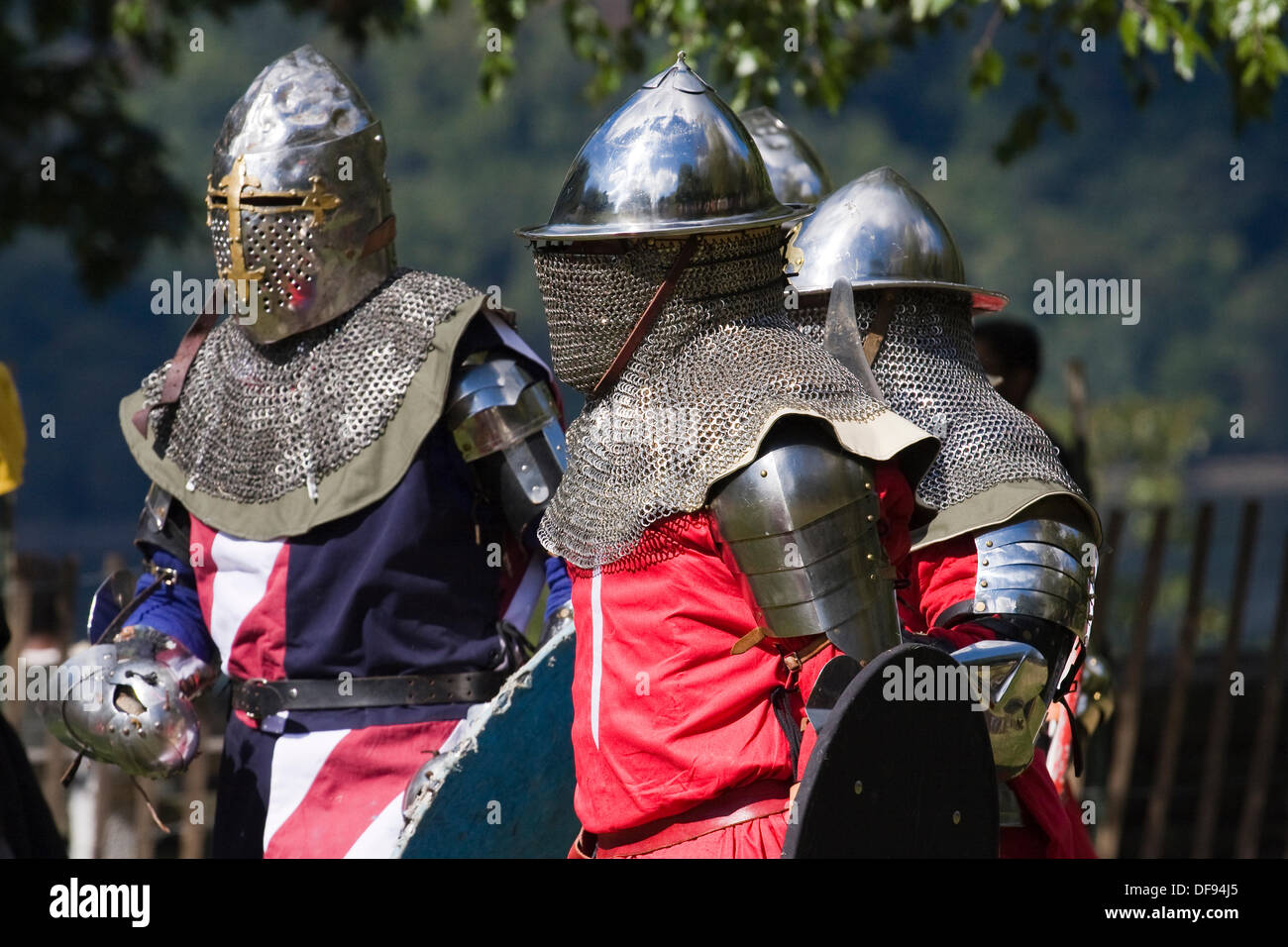 New York City USA Sept 29th 2013. Medieval Festival at Fort Tryon Park. Armored Knights on the field of battle at the Medieval Festival in Fort Tryon Park in the Inwood neighborhood of NYC. Credit:  Anthony Pleva/Alamy Live News - Stock Image
