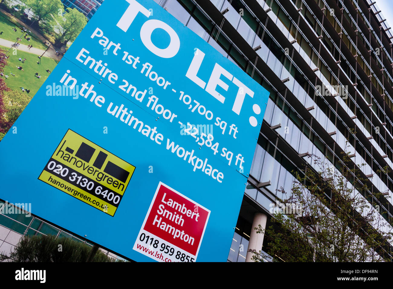 To let sign outside office development in central Reading, Berkshire, England, GB, UK. - Stock Image