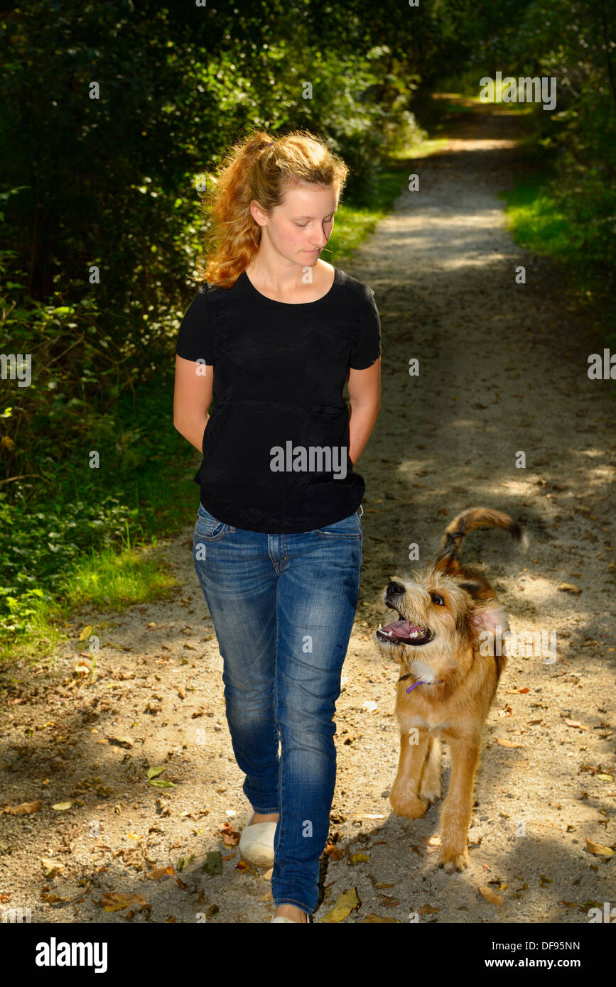 Young woman walking an attentive puppy on a path in a forest of Toronto - Stock Image
