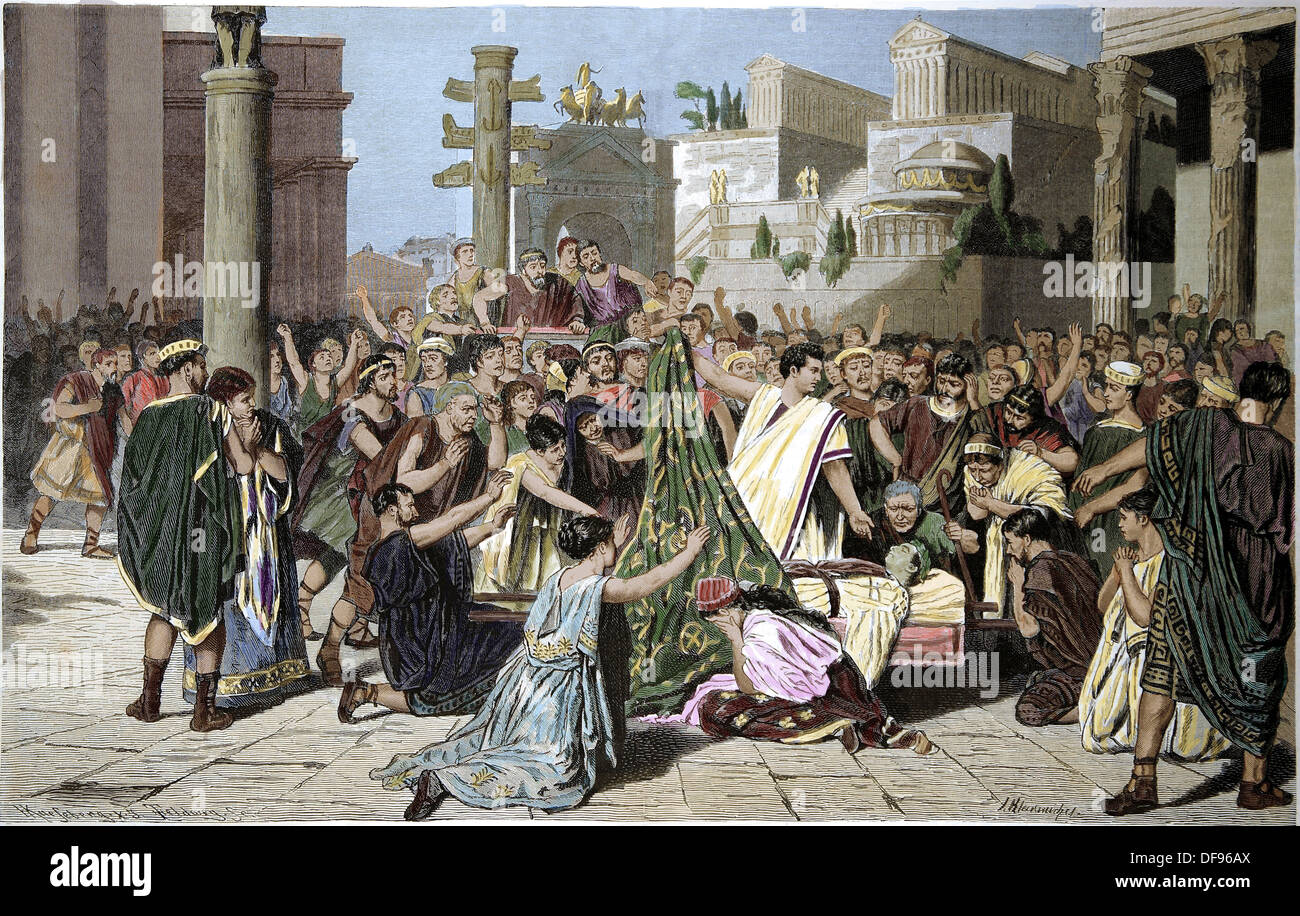 Mark Antony (83-30 BC) shows the corpse of Julius Caesar (100-44 B.C), to the citizens of the city of Rome. Engraving - Stock Image