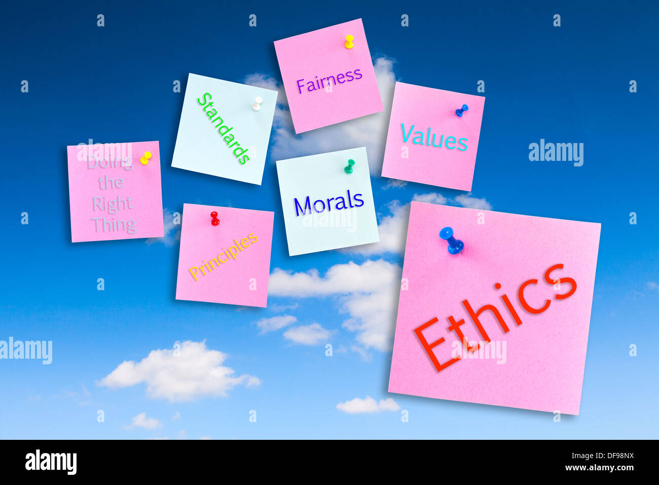 Ethics Concept - notes pinned to a blue sky, ethics,morals,values,fairness,standards,principles,doing the right thing. - Stock Image