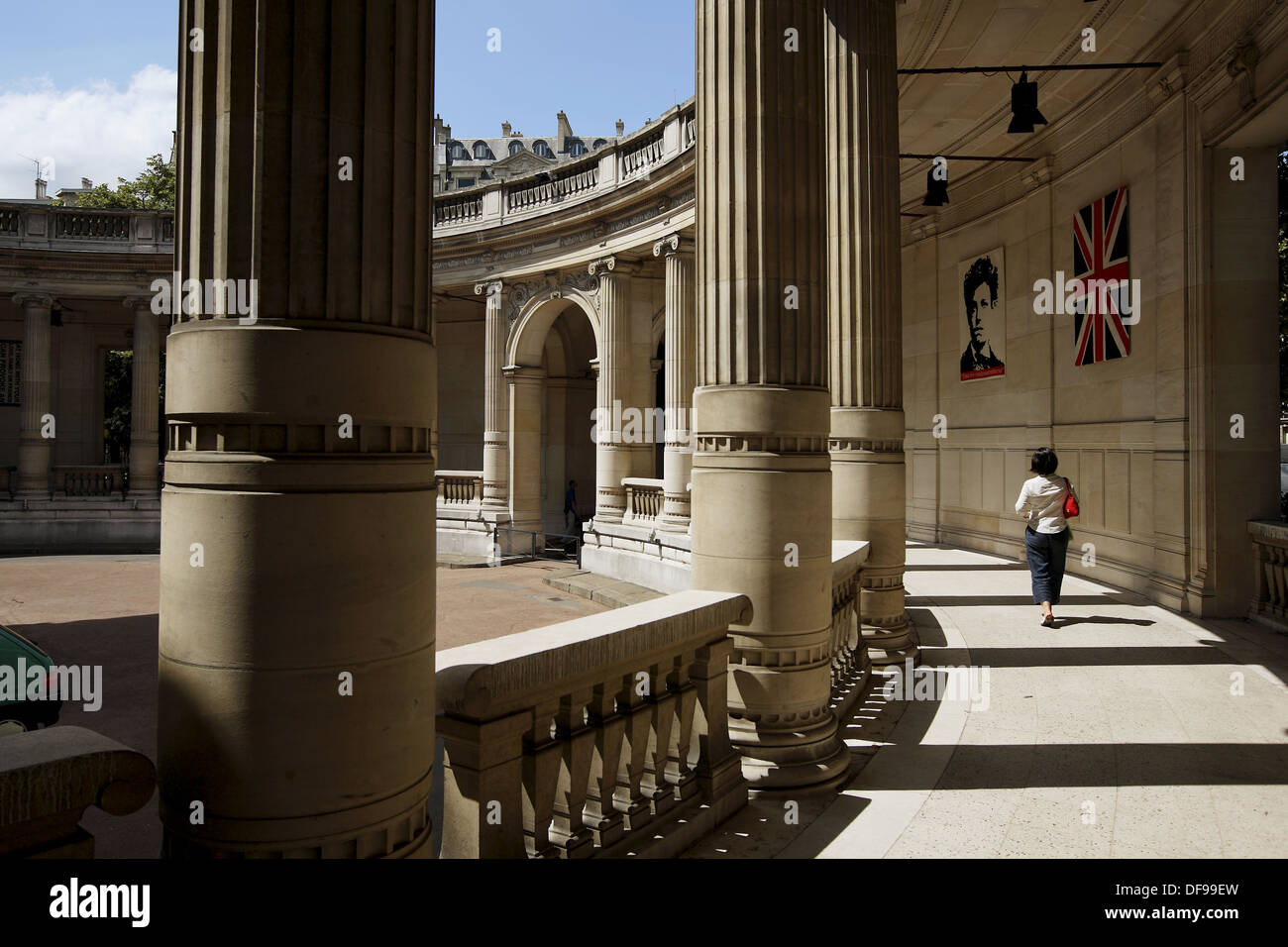 France. Paris. A visitor in art pieces decorated round hall way of front entrance of Musee de la Mode et du Costume Stock Photo