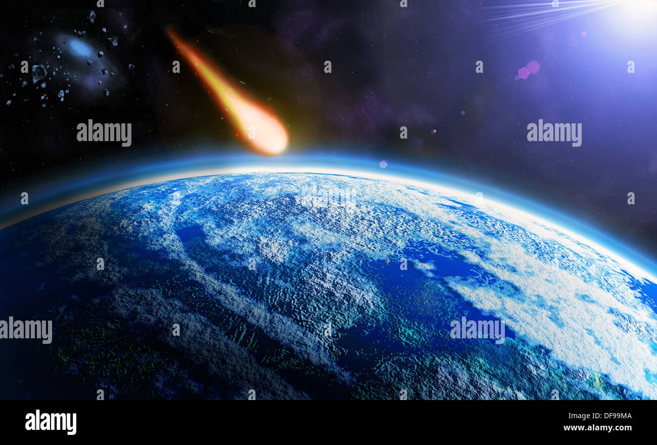 danger from space - asteroid Armageddon - Stock Image