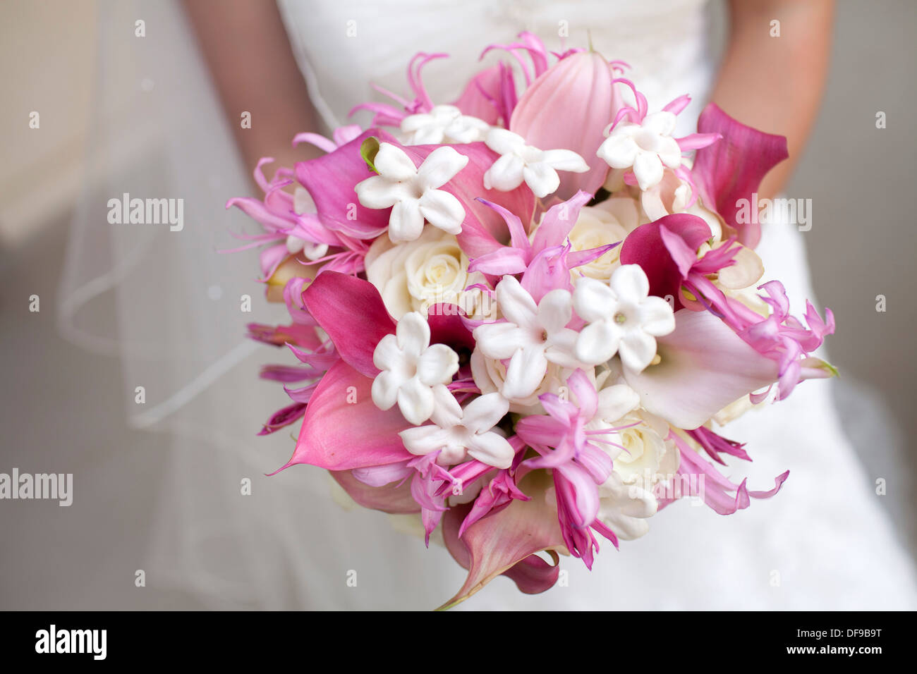 Bouquet Sposa Gigli.A Bride Clutching A Bouquet Of White Roses And Pink Lilies Stock