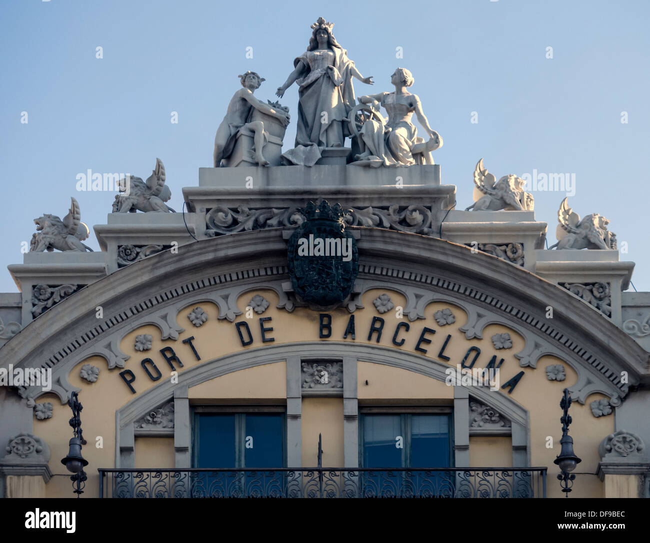 Detail on the facade of the Old Port Authority Building in Port Vell, Barcelona - Stock Image