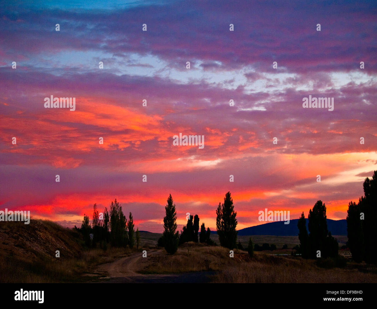 Sunset afterglow near Cooma, Snowy Mountains, Australia - Stock Image