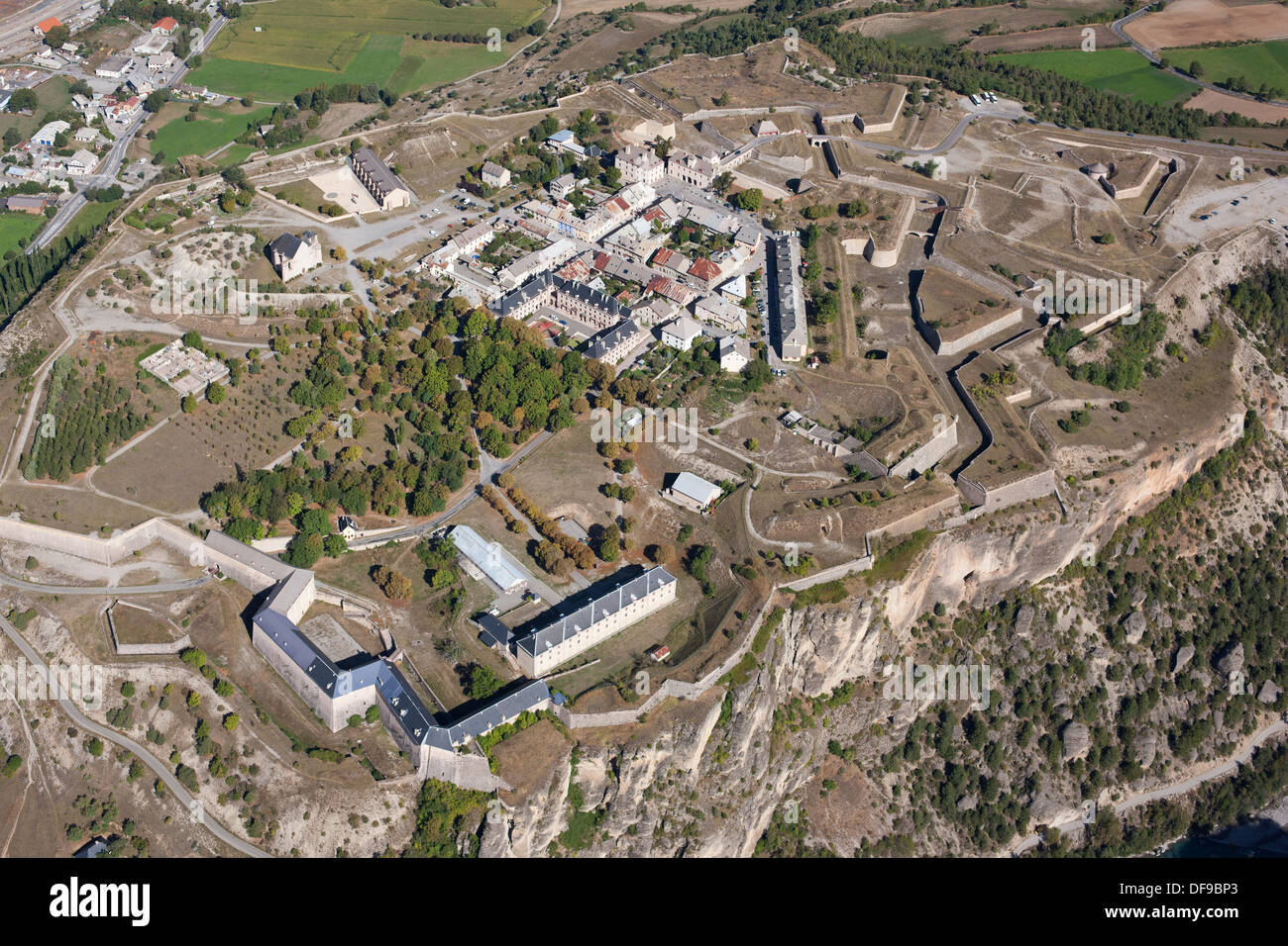 FORTIFICATIONS OF MONT-DAUPHIN (aerial view). The citadel. Guillestre, Hautes-Alpes, France. - Stock Image