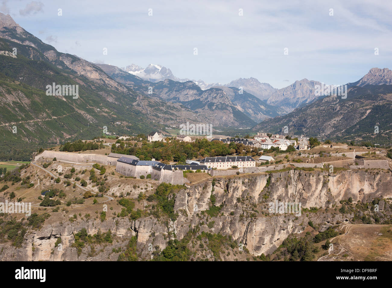 FORTIFICATIONS OF MONT-DAUPHIN (aerial view). The citadel with the Écrins Massif on the horizon. Guillestre, France. - Stock Image