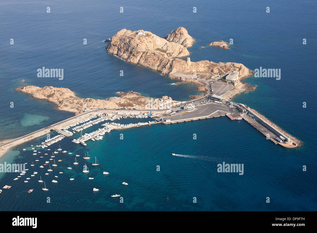 ÎLE ROUSSE MARINA (aerial view). The pier and ferry terminal. Corsica, France. - Stock Image