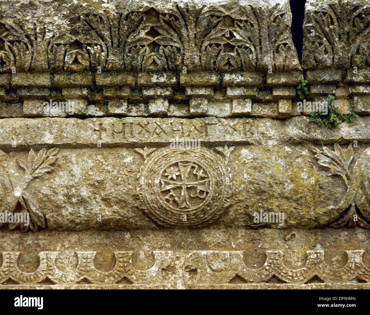 Syria. Church of Qalb Lozeh. C.460. Chi Rho detail. Near Harim. - Stock Image