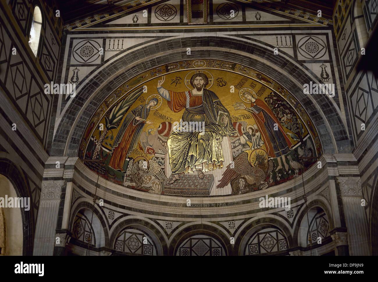 Italy. Florence. Basilica of Saint Minias on the Mountain. Byzantine apse mosaic.
