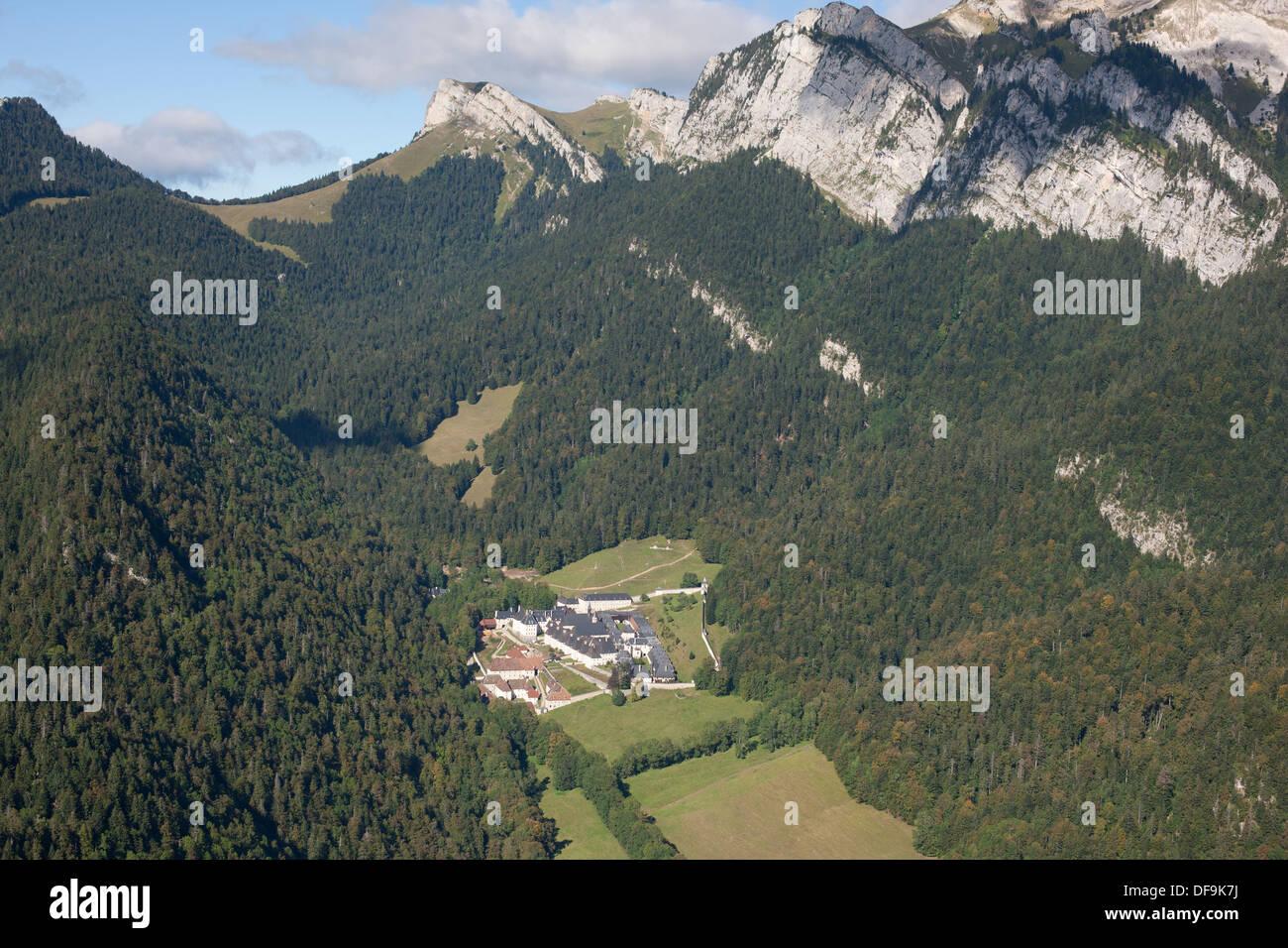 GRANDE CHARTREUSE MONASTERY (aerial view). Saint-Pierre-de-Chartreuse, Isère, Rhône-Alpes, France. - Stock Image