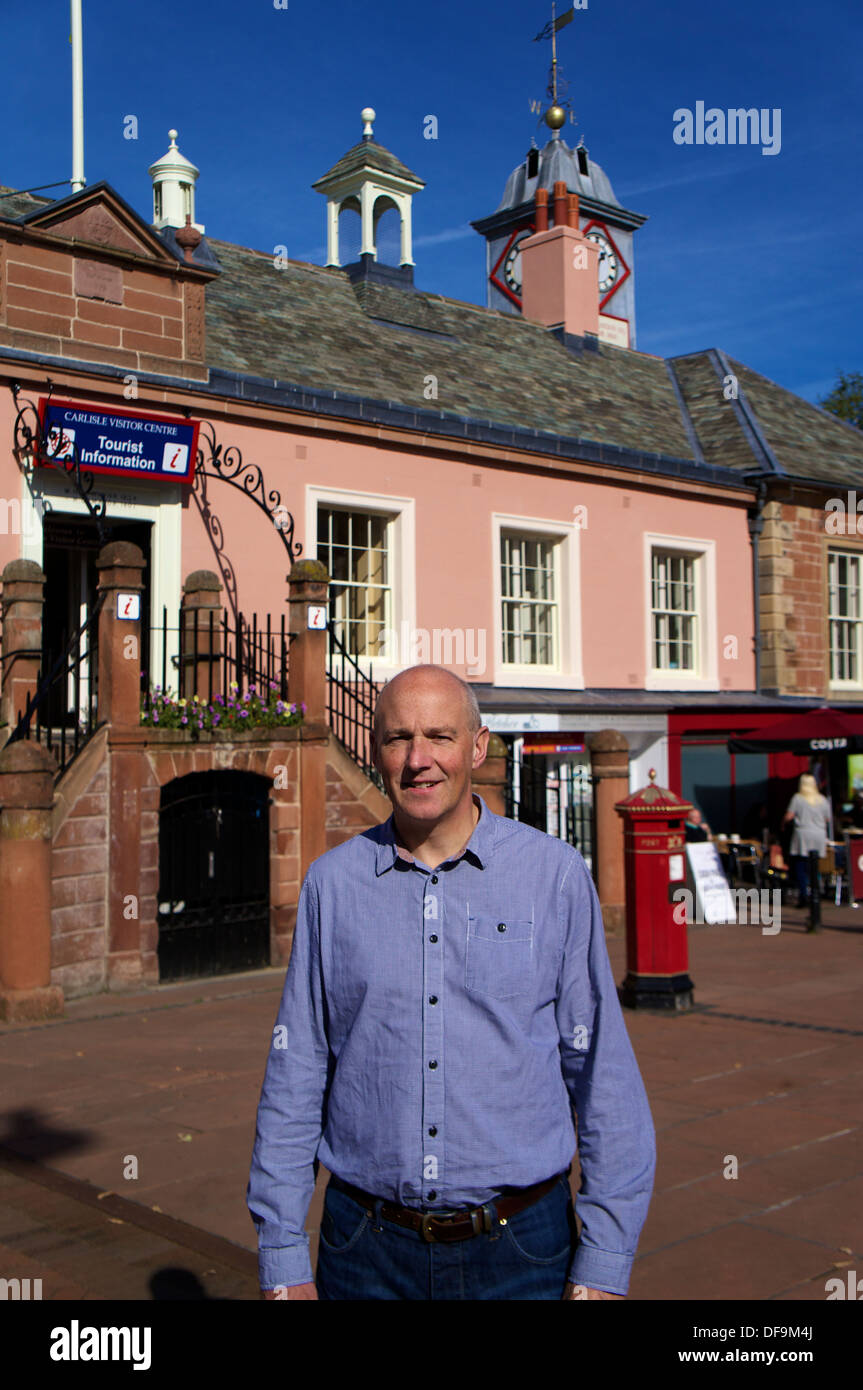 John Stevenson MP Member of Parliament for Carlisle outside 'The Old Town Hall' in Carlisle Cumbria England United Kingdom - Stock Image