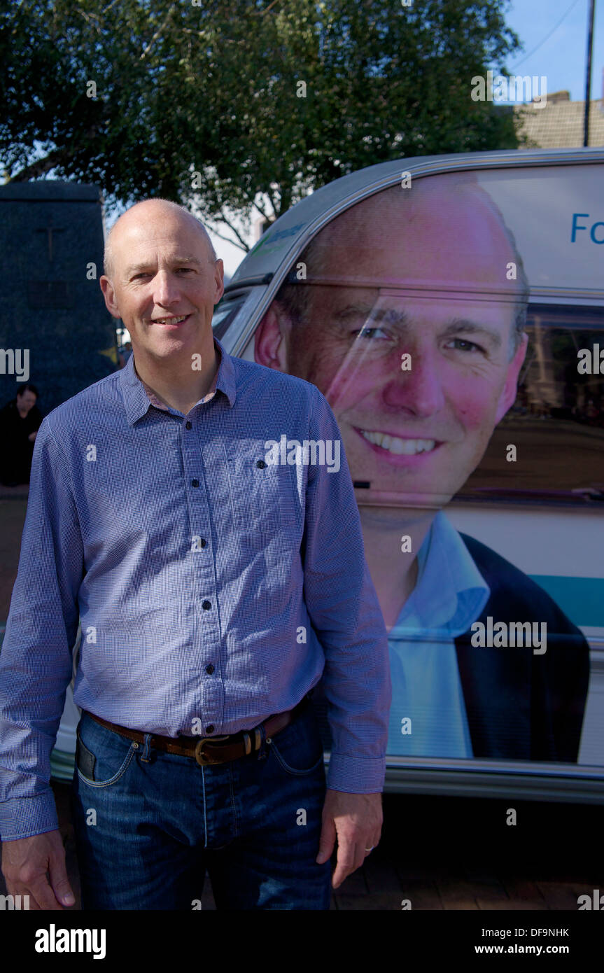 John Stevenson MP Member of Parliament for Carlisle in front of campaign caravan Carlisle Cumbria England United Kingdom - Stock Image