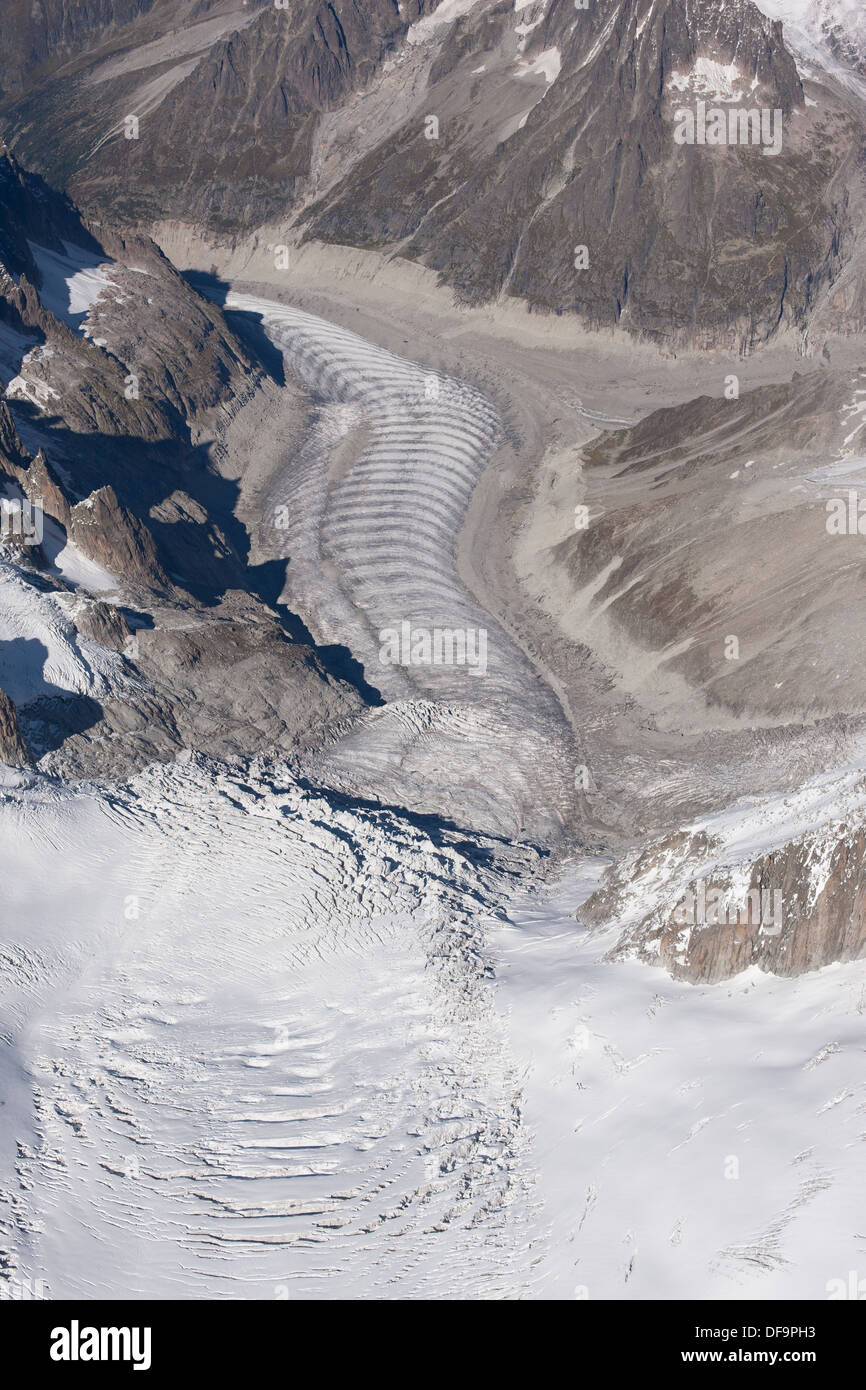 TACUL & MER DE GLACE GLACIERS (aerial view). Forbes bands (or ogives) visible on Mer de Glace. Chamonix Mont-Blanc, France. - Stock Image