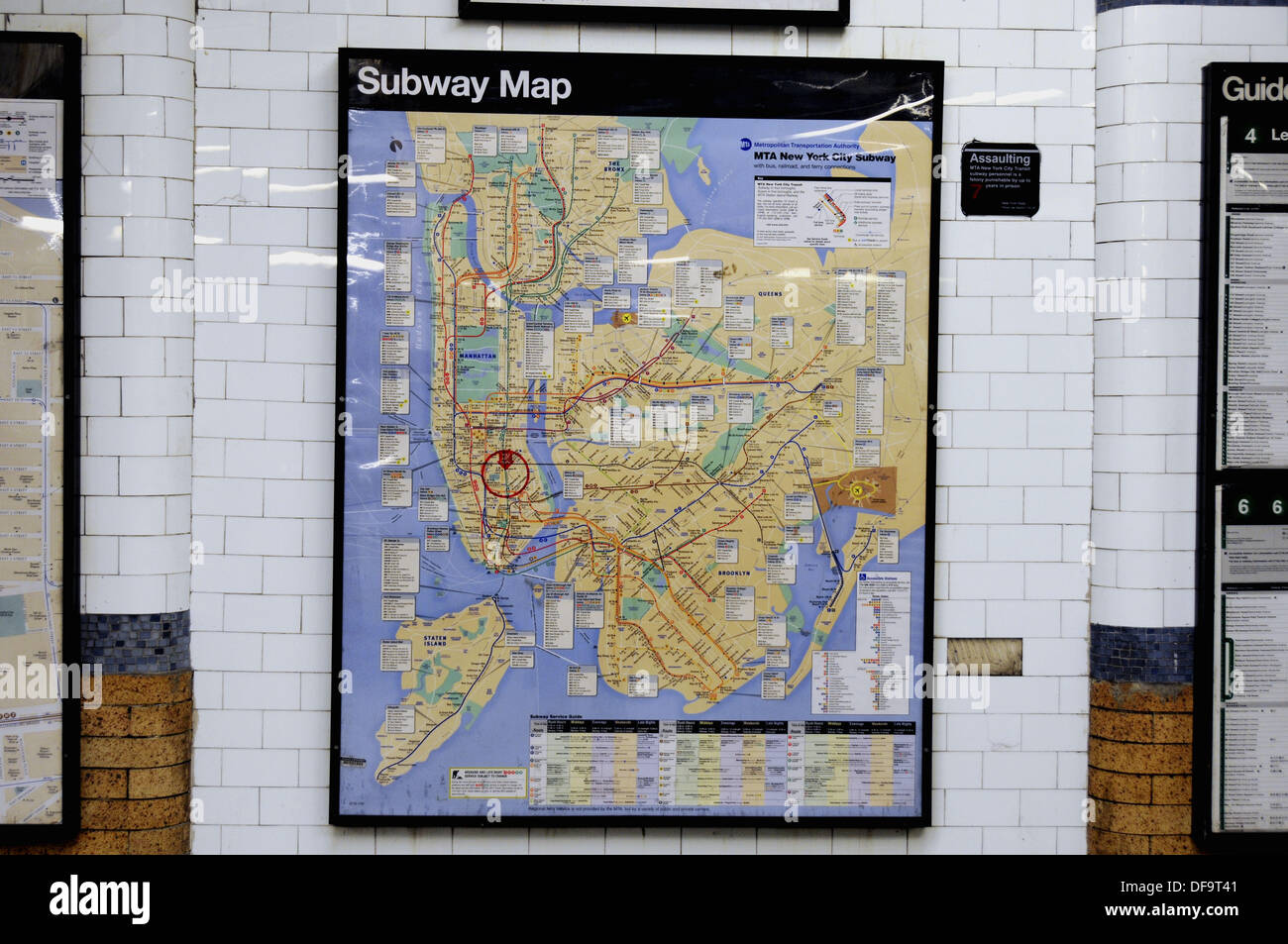 Framed New York Subway Map.Framed Subway System Map Mounted On Wall Of Astor Place Station