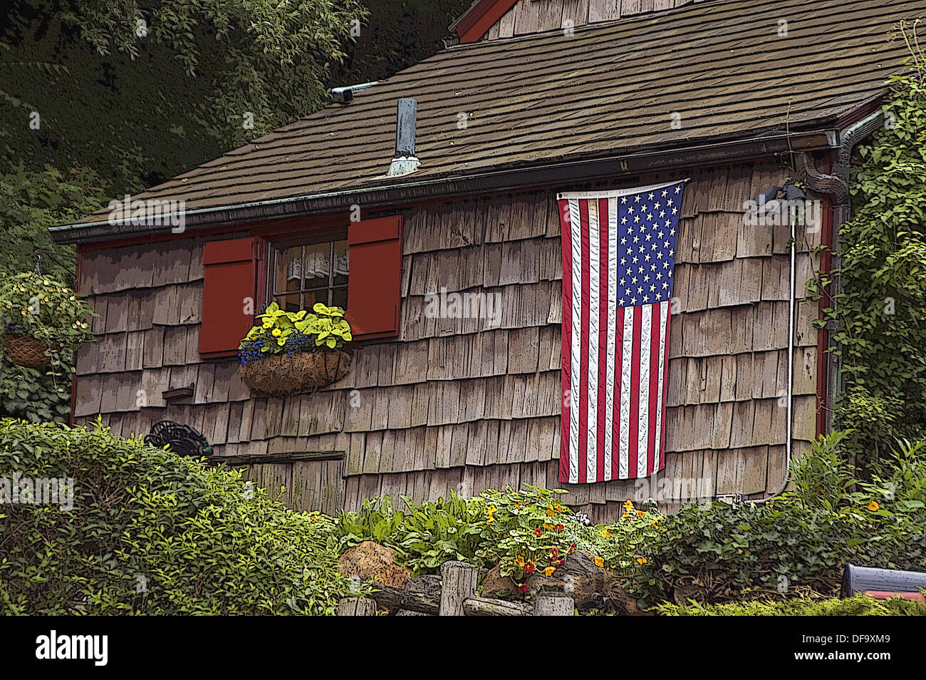 American Flag draped on the side of an historic home, at Independence Day USA Holiday, July 4th. New York. USA. Stock Photo